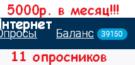 Интернет опрос! Доход 5000р. на опросах в сети!